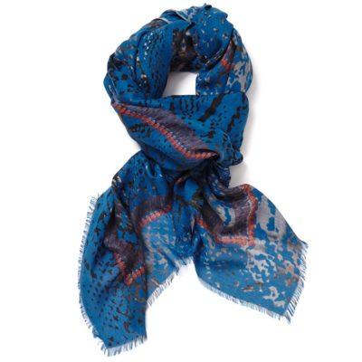 JANE-CARR-The- Snake-Square-modal-cashmere-scarf-Indigo-Loop