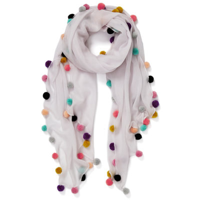 Jane-Carr-boho-pompom-scarf-nougat-lambswool-loop