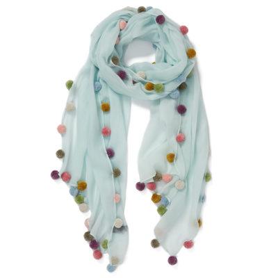 Jane-Carr-boho-pompom-scarf-opal-lambswool-loop