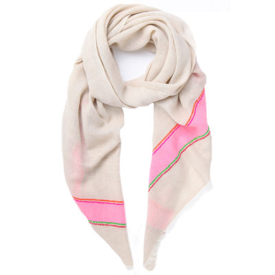 Rose-and-rose-pink-and-taupe-slub-stripe-scarf-loop