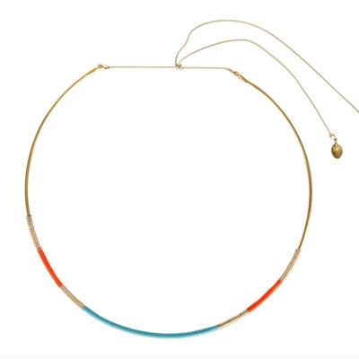 Une-a-une-gold-choker-necklace-orange-turquoise