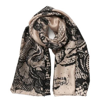 Bella-Ballou-beige-silk-scarf-lace-print-loop