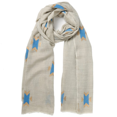 Beshlie-cashmere-beige-and-turquoise-scarf-navaho