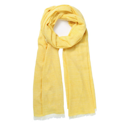 Beshlie-cashmere-herringbone-yellow-scarf-loop