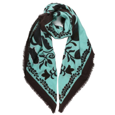 Duet-woollen-emboirdered-scarf-turquoise-brown-loop