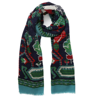 Inoutoosh-patterned-wool-scarf-navy-red-grenn-loop