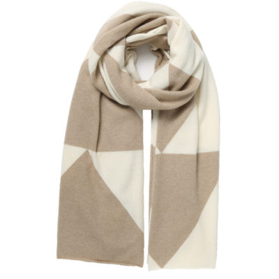 Madeleine-thompson-cashmere-cream-and-beige-chevron-scarf-loop