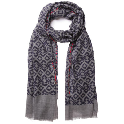 cleverlywrapped-navy-ikat-print-scarf-loop