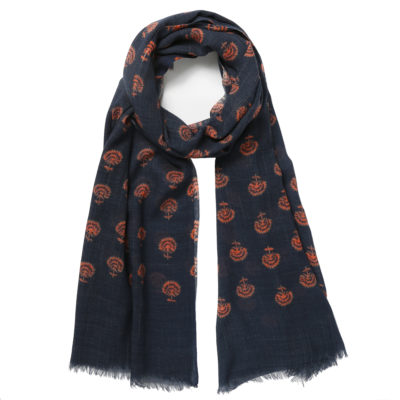 Jo-edwards-patterned-wool-scarf-navy-and-coral-loop