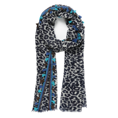 Rose-and-rose-leopard-print-wool-scarf-navy-Himalaya-loop