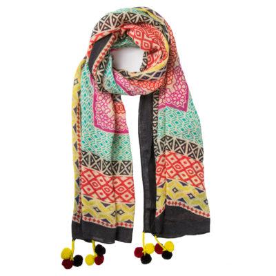 cleverlywrapped-women's-multi-coloured-wool-pom-pom-scarf-noir-loop