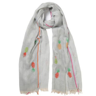 ombre-pineapple-print-grey-cotton-scarf-loop
