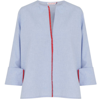 sous-les-paves-chamrbray-red-trimmed-tunic-front-loop