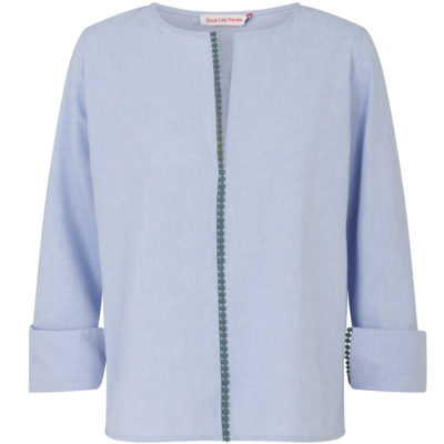 sous-les-paves-chamrbray-teal-trimmed-tunic-front-loop