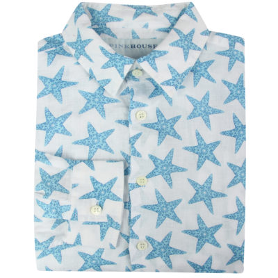 Mens-linen-shirt-seastar-blue