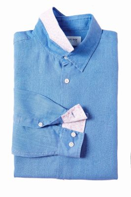 mens shirt - plain - cornflower blue - flat