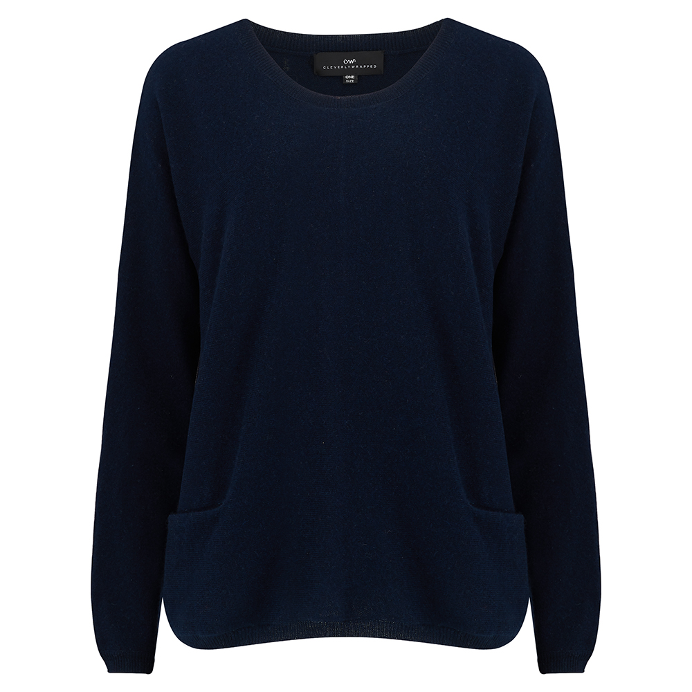a1f138362ad navy blue scoop neck pocketed cashmere jumper - Cleverly Wrapped