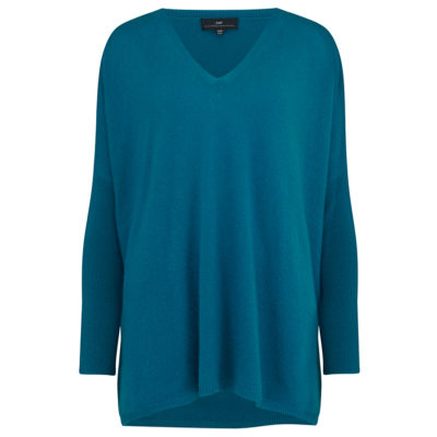 Cleverly-wrapped-cashmere-v-neck-poncho-teal-front_1