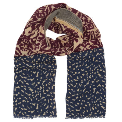 cleverly-wrapped-wool-scarf-burgundy-ikat-loop