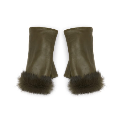 guanit-alex-khaki-green-leather-fur-fingerless-glove-1
