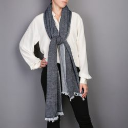 593efd7622645 women's navy cashmere scarf - Herringbone Weave - Cleverly Wrapped
