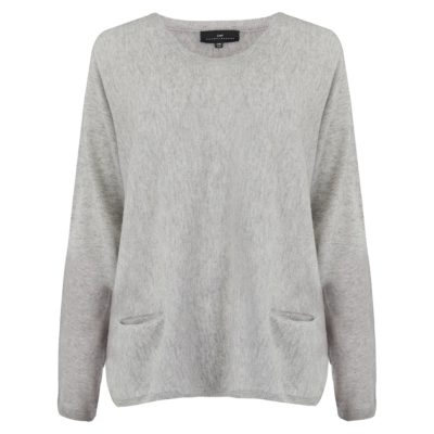 pearl grey scoop neck pocketed cashmere jumper