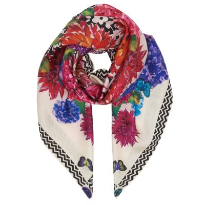 multi-coloured floral silk scarf – statement kaleidoscope