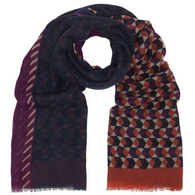 geometric print wool scarf