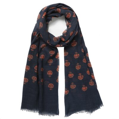 navy patterned wool scarf