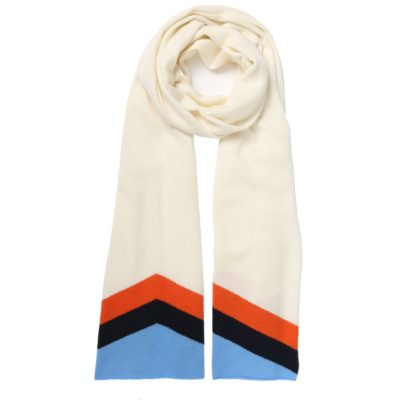 cream cashmere scarf – retro chevron