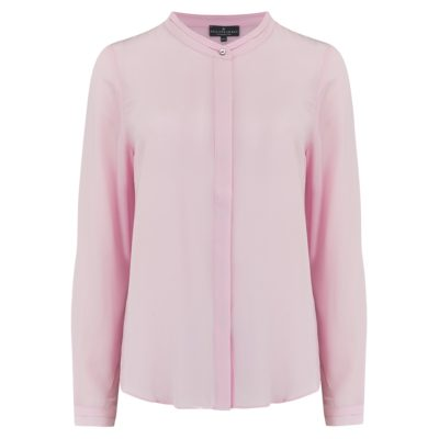 soft pink silk collarless shirt