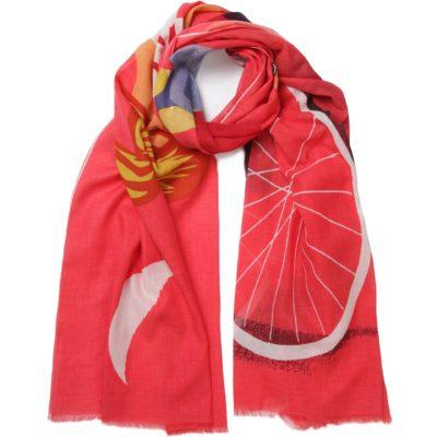 red eiffel cotton scarf
