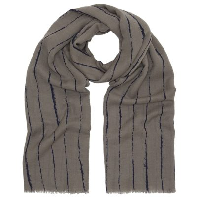 taupe broken line wool twill scarf