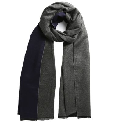 men's navy/charcoal grey reversible scarf- Commuter Express