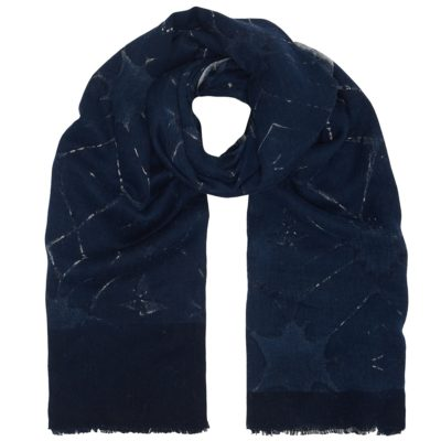 navy honeycomb cotton twill scarf