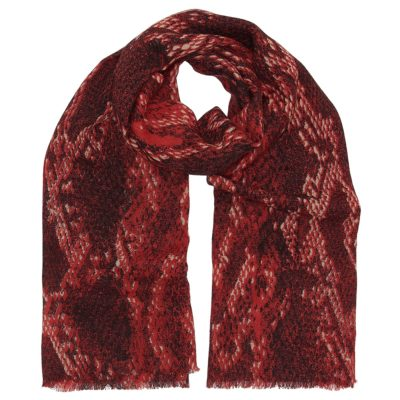 red snakeskin wool scarf