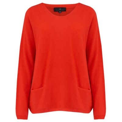 tomato red scoop neck pocketed cashmere jumper