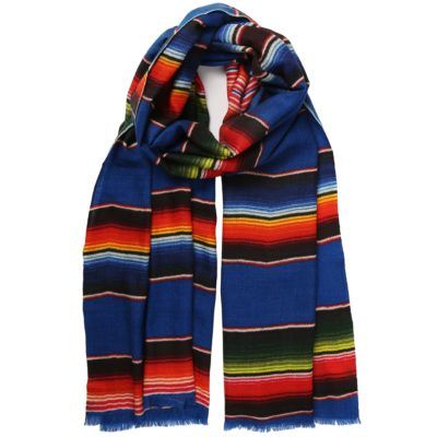 indigo striped wool scarf -San Antonio