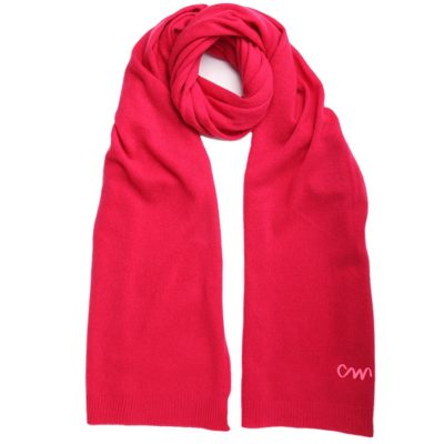 pink classic cashmere scarf with neon logo