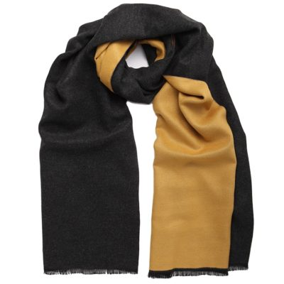women's mustard/charcoal grey reversible scarf – Commuter Express