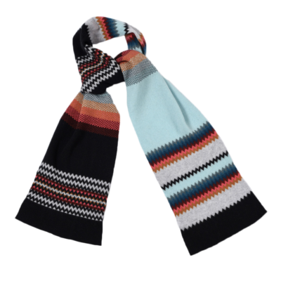 women's zigzag wool scarf -coral