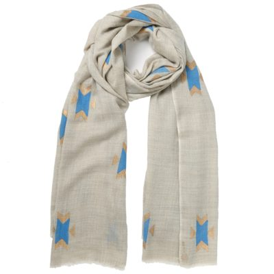 natural printed cashmere scarf – Navaho