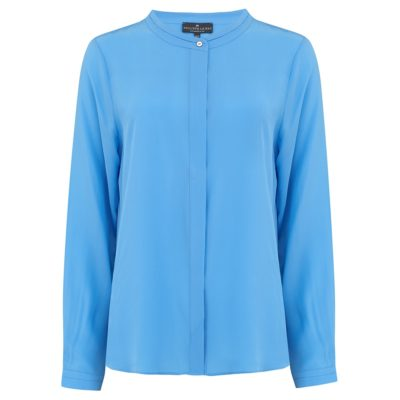 pale blue silk collarless shirt