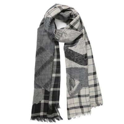 unique printed large wool scarf – Willy