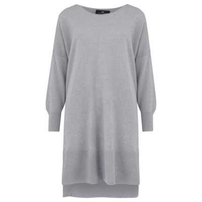 pale grey cashmere ribbed tunic