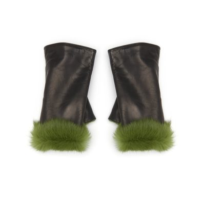 fur trimmed black leather gloves