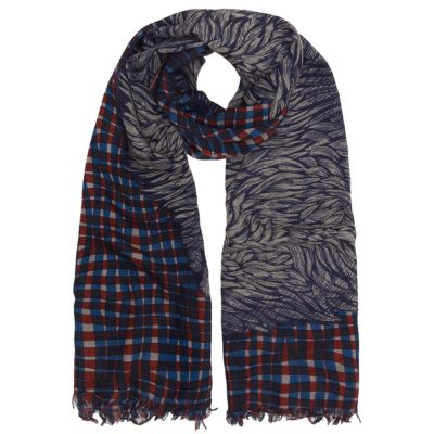 navy wool bison scarf