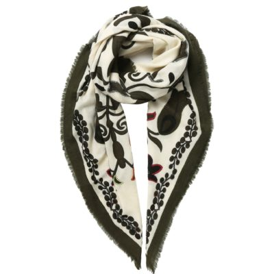 khaki embroidered woollen scarf – Lily