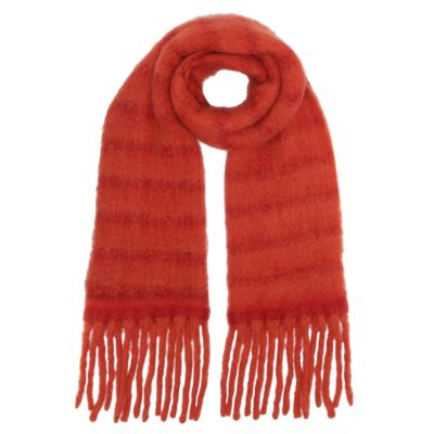 chunky red tasseled scarf