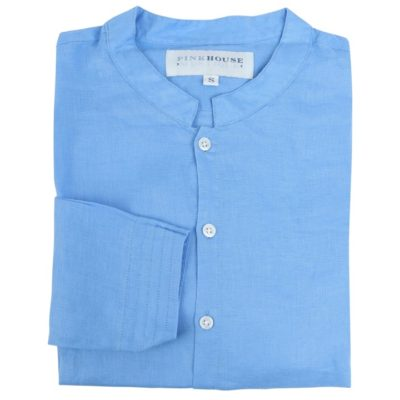 collarless french blue linen shirt